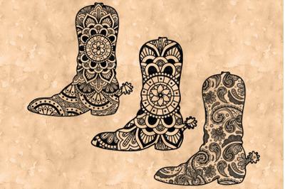 Cowboy Boot Mandala SVG, Country Western, Mandala Clipart, Cowgirl