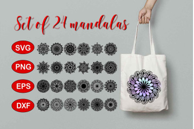 Set of 24 Mandalas SVG, PNG,