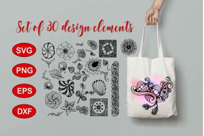 Set of 30 Doodle elements SVG, PNG