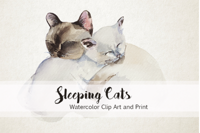 Mother and Baby Sleeping Cats - Watercolor Print & Clip Art