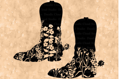 Cowboy Floral Boot SVG, Cowgirl Floral Boots SVG.