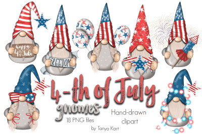 4th Of July Gnomes Clipart