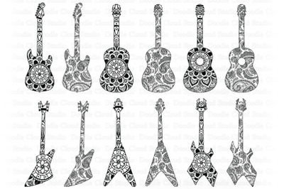 Guitar Mandala SVG, Mandala Guitar SVG Cut Files, Guitar Clipart.
