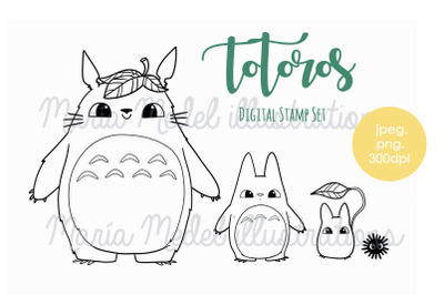 Totoros-digital stamp set