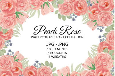 Peach Rose Flower Watercolor Clipart Collection