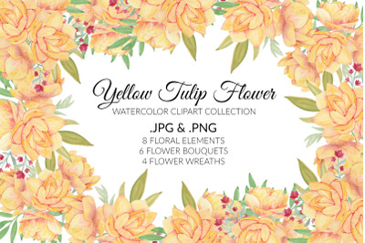 Yellow Lotus Water Lily Flower Watercolor Clipart Collection