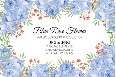 Blue Rose Flower Watercolor Clipart Collection