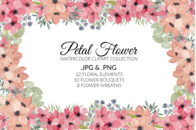 Petal Flower Watercolor Clipart Collection