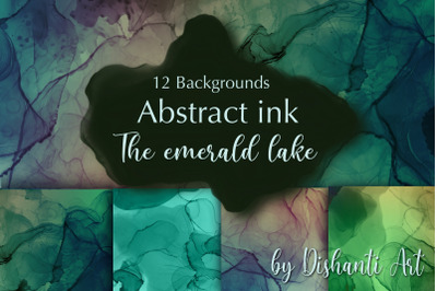 Alcohol ink Abstract Backgrounds The emerald lake