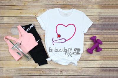 Embroidery Nurse Stethoscope Heart heartbeat Nurses quarantine healthy