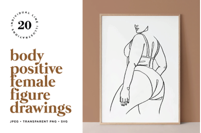 Body Positive Female Figure Line Art