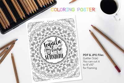 Tequila Lime & Sunshine - Coloring Quote