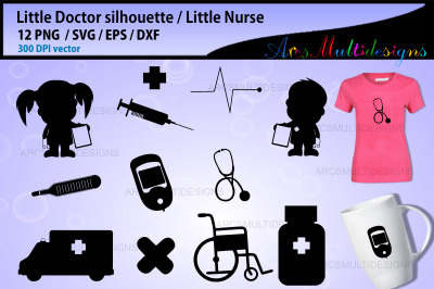 Little doctor clipart silhouette