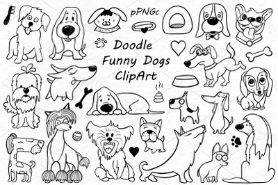 Doodle Funny Dogs Clipart