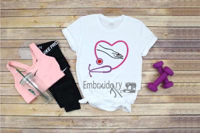 Embroidery Nurse Hand Stethoscope Heart Nurses quarantine healthy life