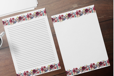 Floral Printable Stationery, Lined Digital Note Paper
