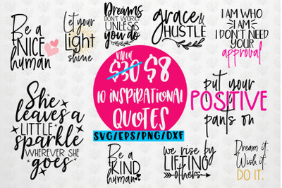 Inspirational SVG Bundle Quote EPS DXF PNG