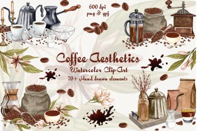 Coffee Aesthetics Watercolor Clip Art