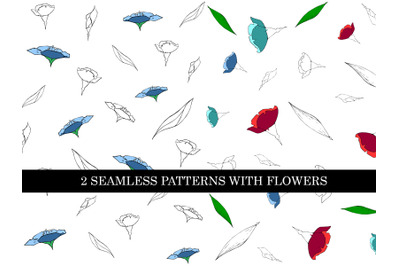 2 seamless patterns with flowers silhouettes in color and outline