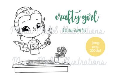Crafty Girl- digital stamp set