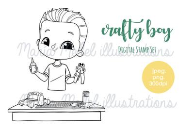 Crafty boy- digital stamp set
