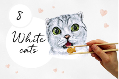 White cat. Watercolor set illustrations. Cute 8 cats.
