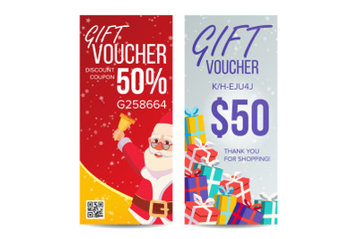 Gift Voucher Vector. Vertical Coupon. Merry Christmas. Happy New Year. Santa Claus And Gifts. Shopping Advertisement. Business Gift Illustration