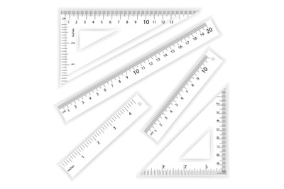 Ruler And Triangles Vector. Centimeter And Inch. Simple School Measurement Tool Equipment Illustration Isolated On White Background. Several Instruments Variants, Proportional Scaled.