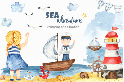 Watercolor Sea adventure Clipart, cards, seamless patterns