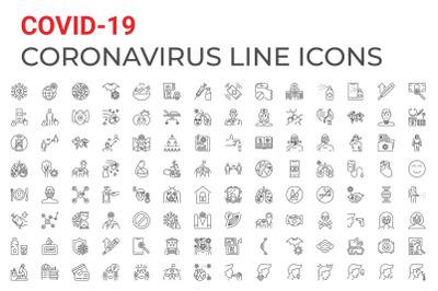 Coronavirus COVID-19 pandemic related line vector icons set
