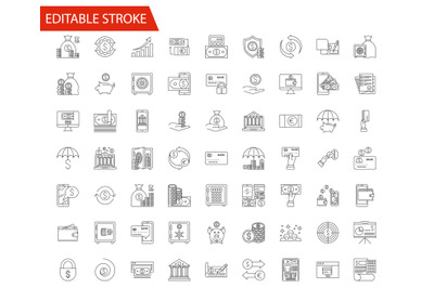 Banking and finance related vector line icons set