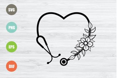 Stethoscope SVG - Heart SVG - Floral Stethoscope SVG