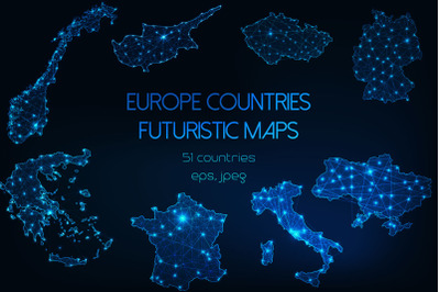 Europe countries futuristic maps.