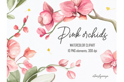 Watercolor Clipart of Orchids in pink colours. Floral digital set