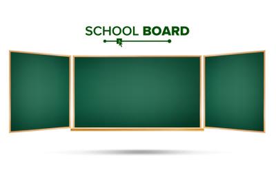 Green Chalkboard Vector. Classic Empty Study Chalkboard Blank. Isolated Illustration