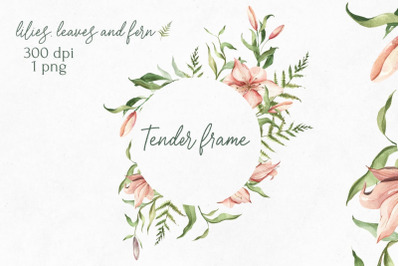 Watercolor Floral Frame of lilies, leaves, buds, ferns. WEDDING frame