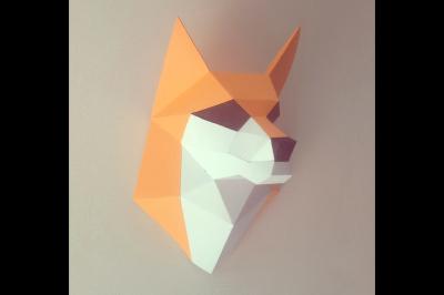 DIY FOX HEAD TROPHY - wall mount (Printable)