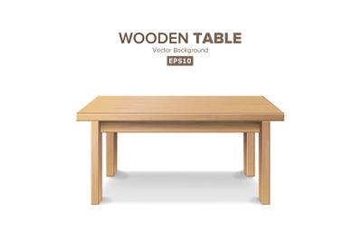 Empty Wooden Table Vector. Isolated Furniture, Stand. Clean Stand Template For Object Presentation. Realistic Vector Illustration.