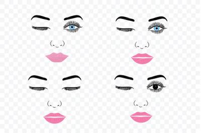 Make up svg Female Face Makeup Eyelashes Eyes Lips /6