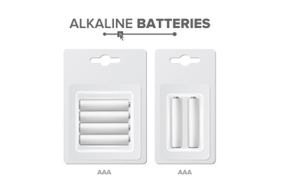 AAA Batteries Packed Vector. Alkaline Battery In Blister. Realistic Glossy Battery Accumulator. Mock Up Good For Branding Design. Closeup Isolated Illustration