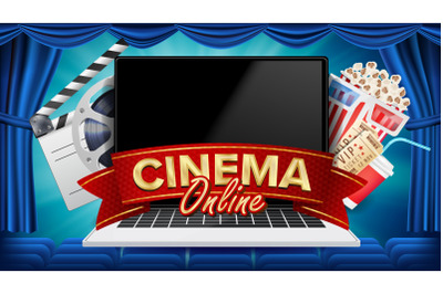 Online Cinema Poster Vector. Modern Laptop Concept. Home Online Cinema. Theater Curtain. Package Full Of Jumping Popcorn. Luxury Banner, Poster Illustration.