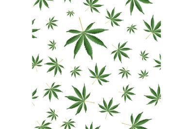 Cannabis Background. Marijuana Ganja Weed Hemp Leafs Seamless Vector Pattern.