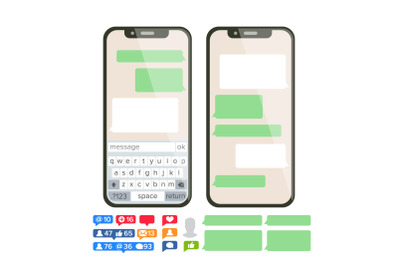 Chatbot Text Message Vector. Chat Bot Bubble Set Template. Modern Mobile Application Messenger Interface. Smartphone With Chat On Screen. Empty Text Boxes. Notification Icons. Flat Illustration
