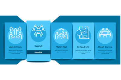 Business Meeting Onboarding Elements Icons Set Vector