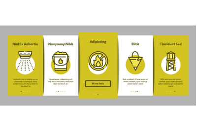 Firefighter Equipment Onboarding Elements Icons Set Vector