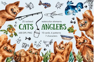 Cats Anglers - Watercolor Clip Art Set