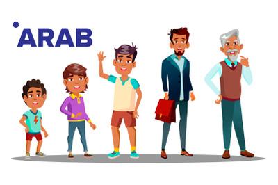 Arab, Muslim Male Set People Person Vector. Grandfather, Father, Son, Grandson, Baby Vector. Vector. Isolated Illustration