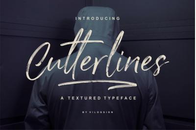 Cutterlines a Textured Typeface Script Font