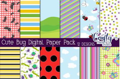 Bugs Digital Paper Pack, Ladybug Scrapbook Paper
