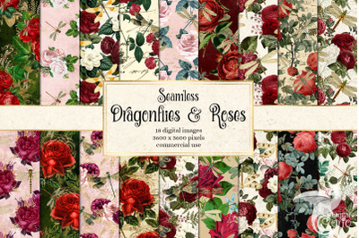 Dragonflies and Roses Digital Paper
